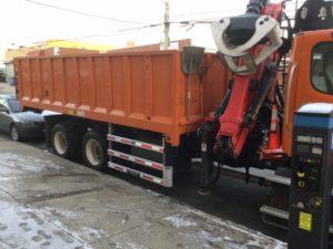 Side Guards on New York Sanitation Dept's truck- Salt Spreader Truck